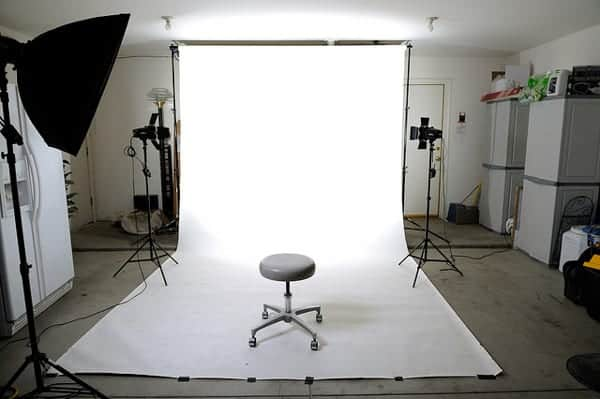 setting up a studio lighting arrangement