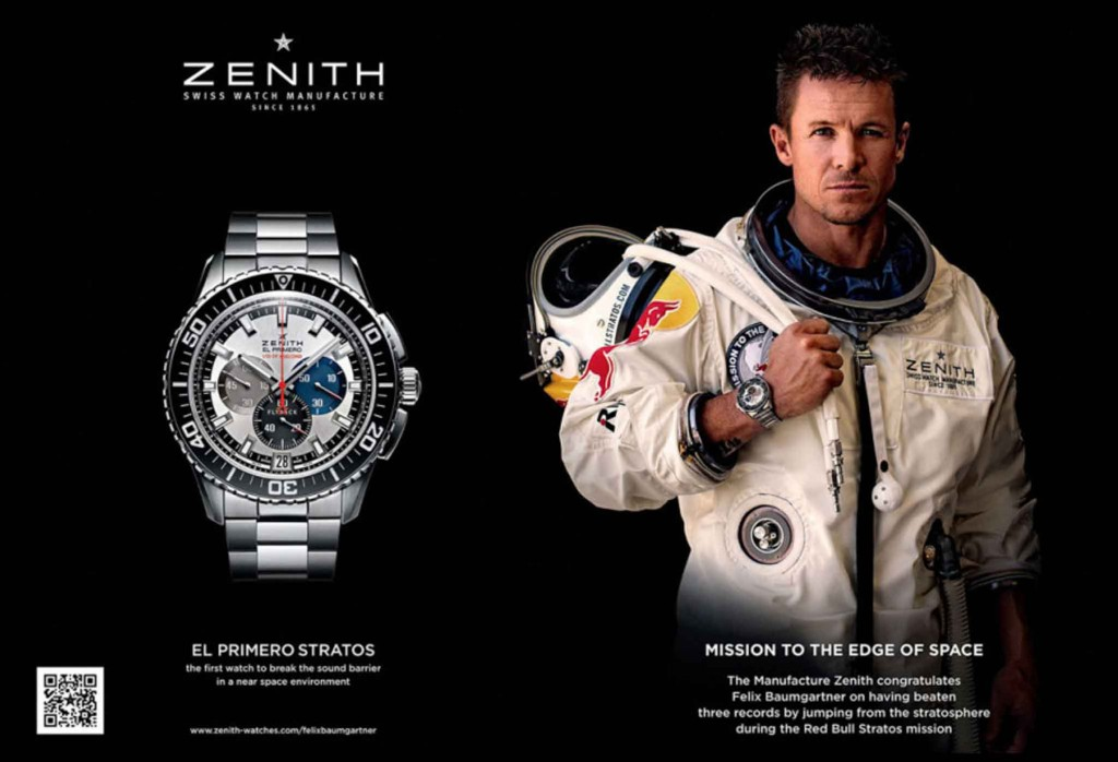 Work of Morgan Normann: Zenith Ad showing Felix Baumgartner