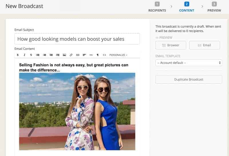 "If some of your contacts clicks on a specific offer in a Fashion Photography mail they become ""prospects""."