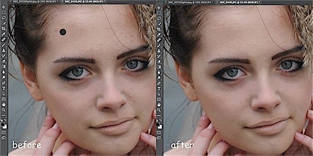 Retouching with healing brush tool