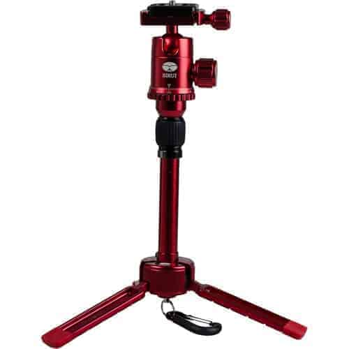 "Sirui 3T-35R 1-Section Aluminum Table Top Tripod, 8.8lbs Capacity, 13"" Maximum Height, Red"