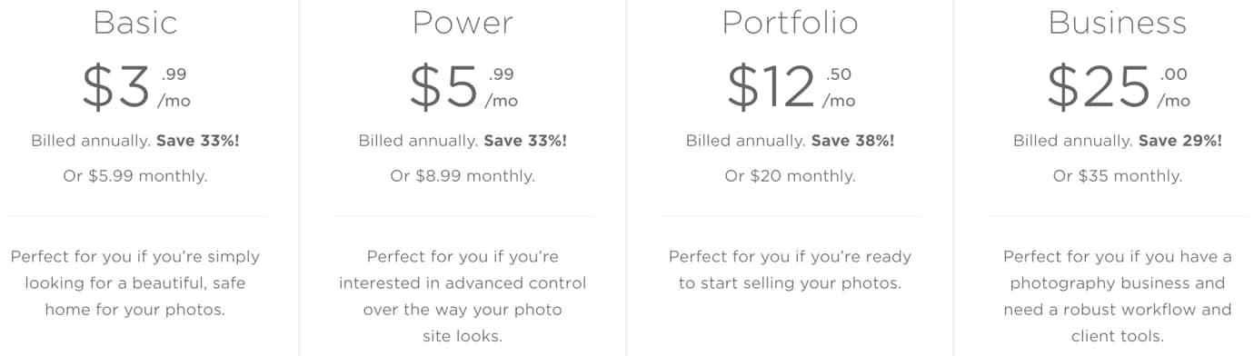 SmugMug Pricing