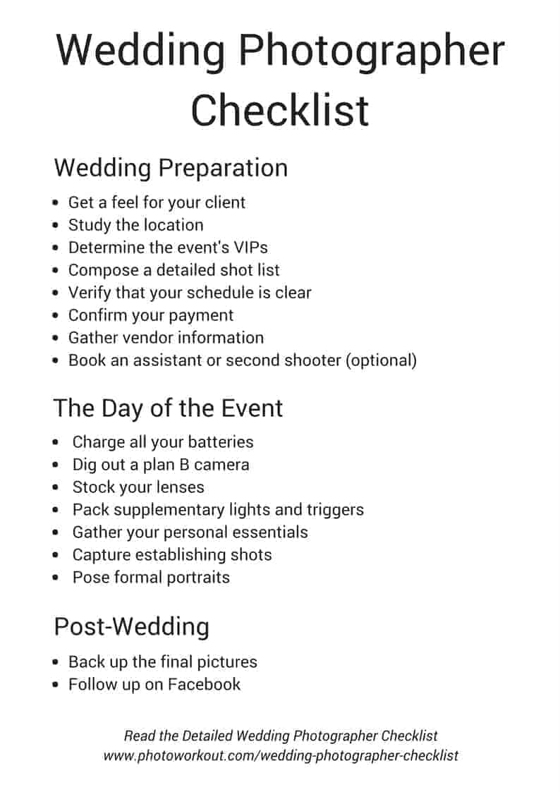 wedding photographers checklist includes free download
