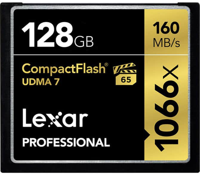 Compact Flash Card: 128 GB Lexa Professional