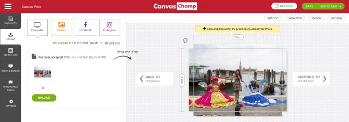 CanvasPop vs CanvasChamp (CanvasChamp.com may not be as easy to use as CanvasPop.com, but gives you more choices)