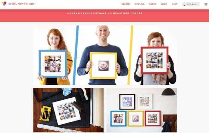 Social Print Studio Instagram Framed Prints. Website Screenshot from: socialprintstudio.com/classic/