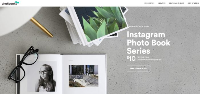 5. Automatic Instagram Photo Book by Chatbooks (Fast and Easy) Website Screenshot from: https://chatbooks.com/instagram-photo-books/