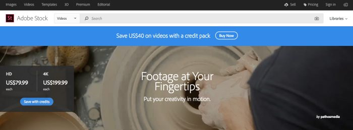 Adobe Stock Videos supports creators to bring their best ideas to life with the best in stock footage (Screenshot Stock.Adobe.com)