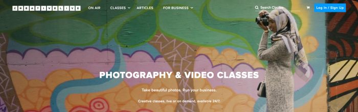 CreativeLive - One of the Best Photography Classes Online (Screenshot from creativelive.com)
