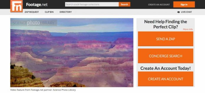 Footage.net the world's premier online video stock footage search platform (Screenshotp Footage.net)