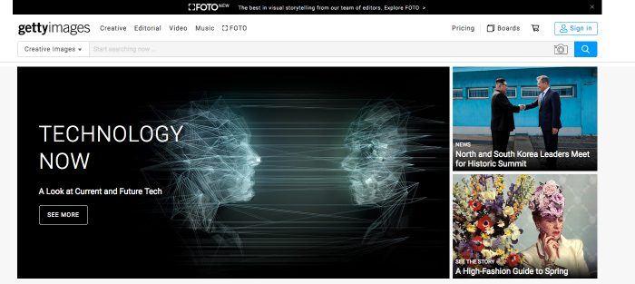Gettyimages - Get inspired by stunning curated creative images (Screenshotp Gettyimages.com)