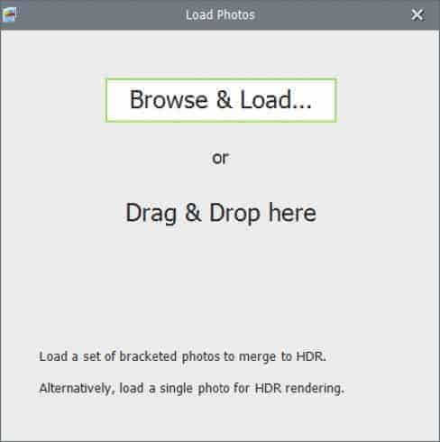 Photomatix Pro 6 Screenshot: Brows & Load or Drag & Drop Images