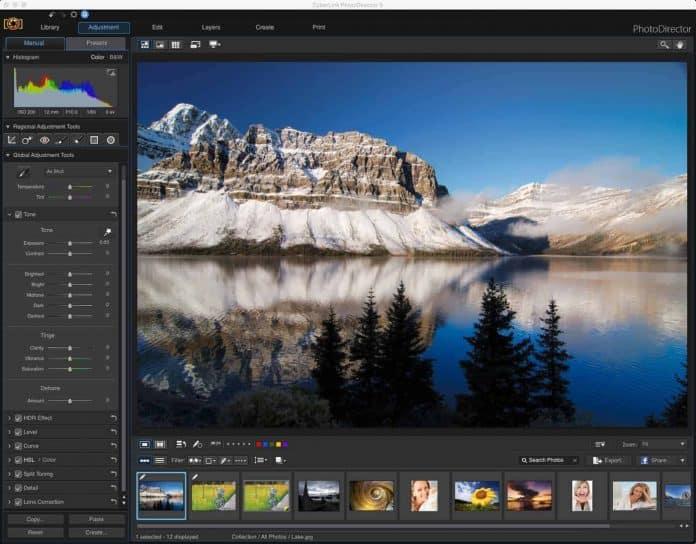Screenshot of the PhotoDirector 9 Adjustment Module