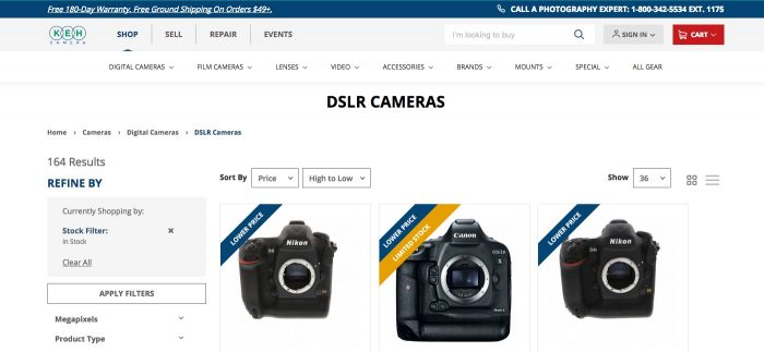 Buying a used DSLR at KEH Camera
