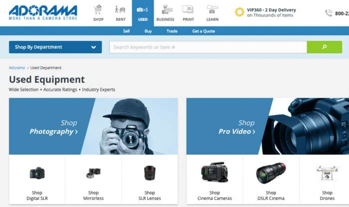 Buying used Photo Gear on Adorama.com