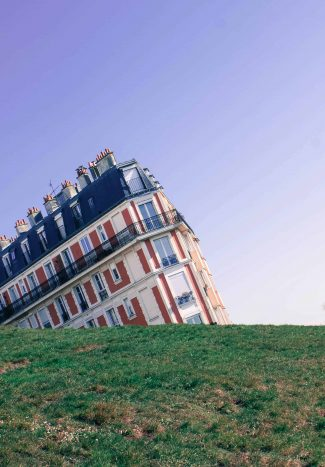 Forced perspective photography of a row of buildings in Paris