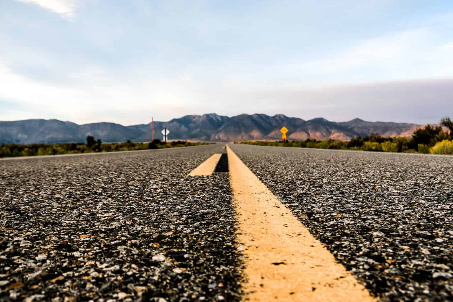 Forced perspective photography of a never-ending road