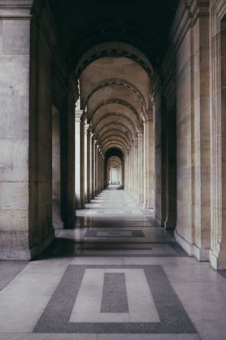 Forced perspective photography of a repeating corridor