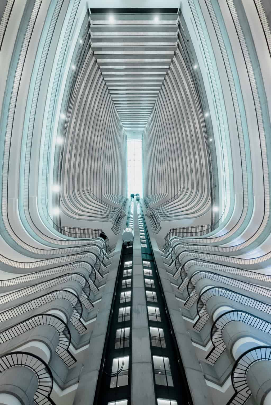 Forced perspective image of a hotel interior