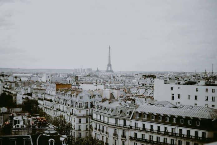 View of Paris from the top of Printemps with Eiffel Tower in distance