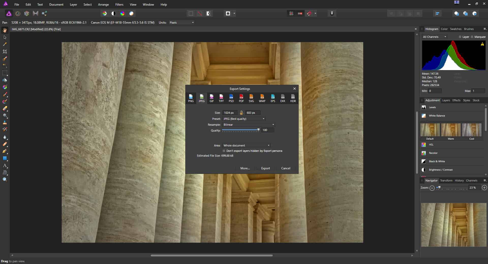 Affinity Photo review - exporting