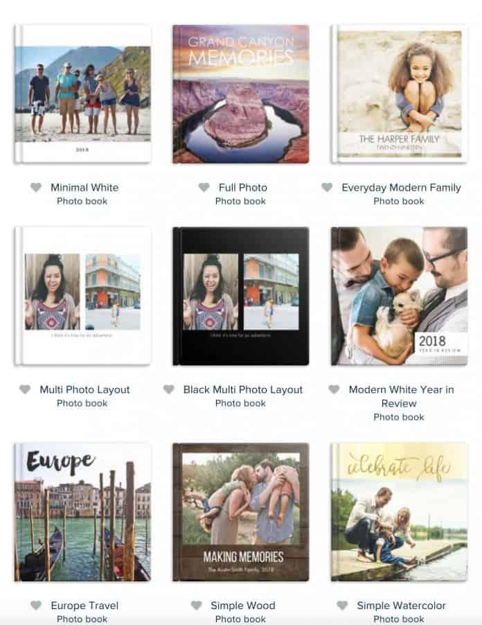 Mixbook photo book template selection