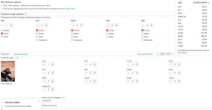 Shutterfly online photo prints interface