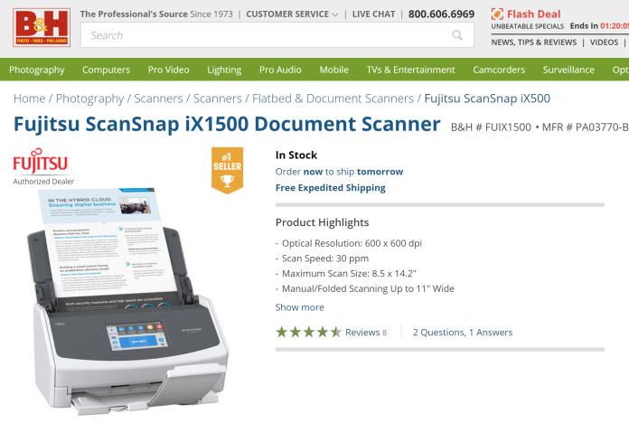 Fujitsu ScanSnap ix1500 on B&H - see product listing