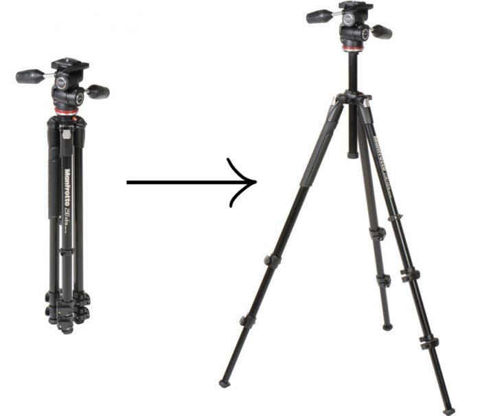 Manfroto MK290 3WUS Size Comparison: compact to full size