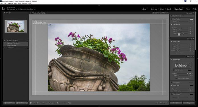 Lightroom slideshow make