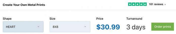 Adorama metal photo print price estimate