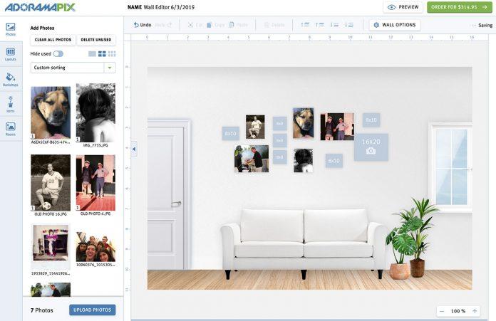 AdoramaPix virtual room editor
