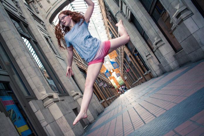 shot of girl jumping