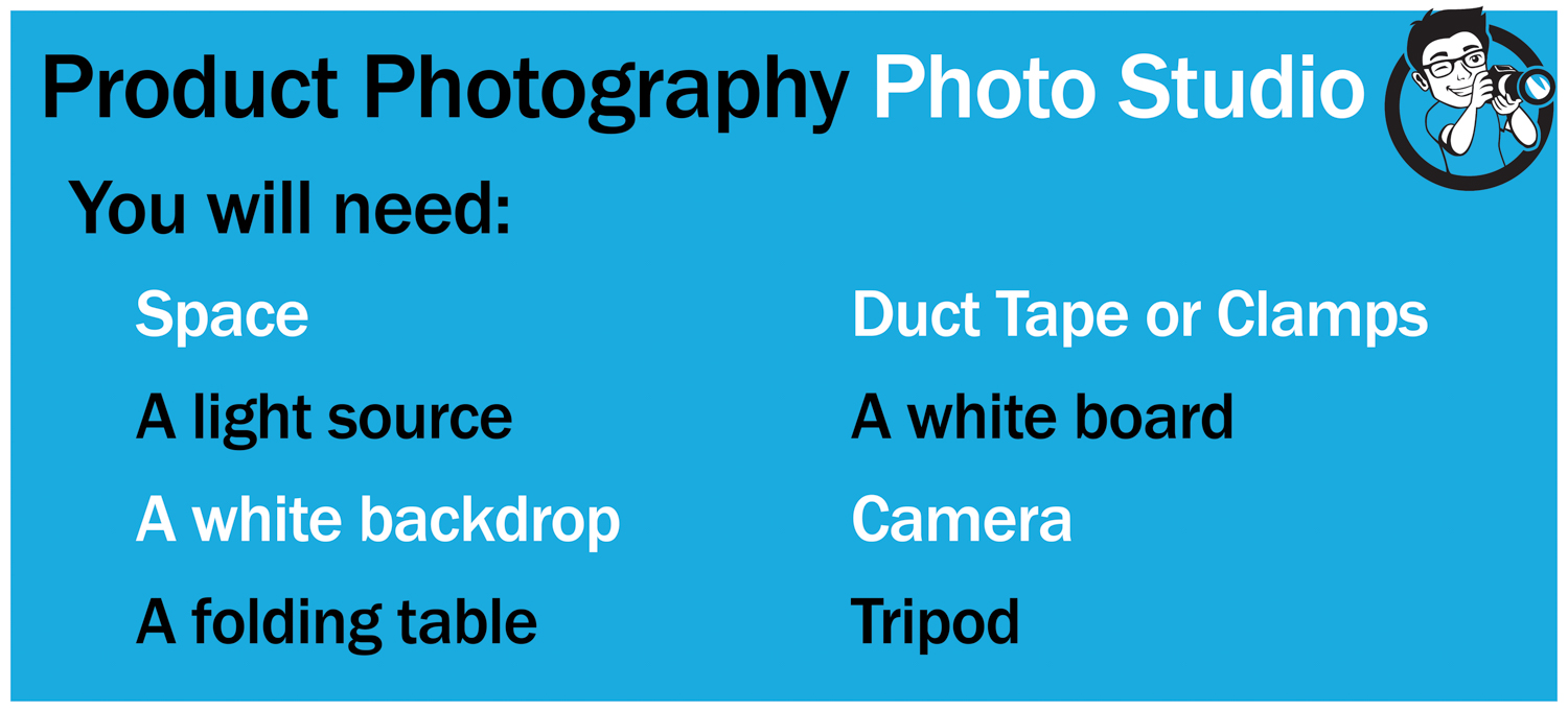Equipment list for product photography DIY photo studio