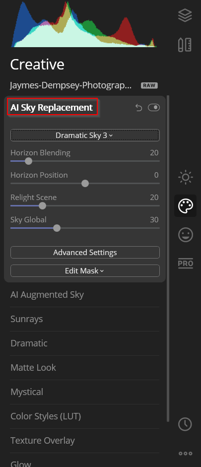 ai sky replacement functions