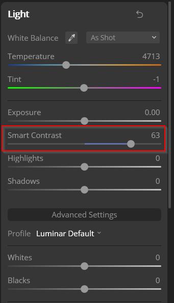 smart contrast luminar effects