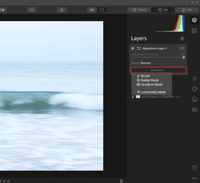 edit mask tool in luminar