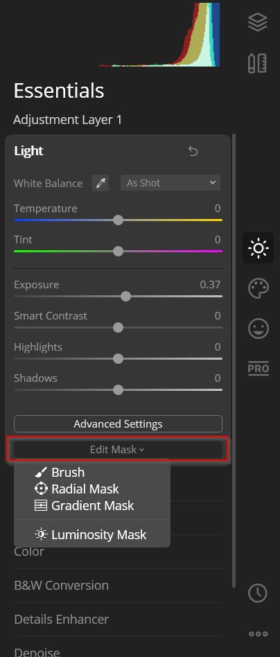 applying a mask in luminar