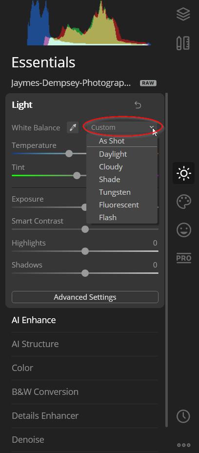 Using preset WB
