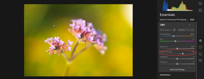 Using smart contrast slider luminar essentials
