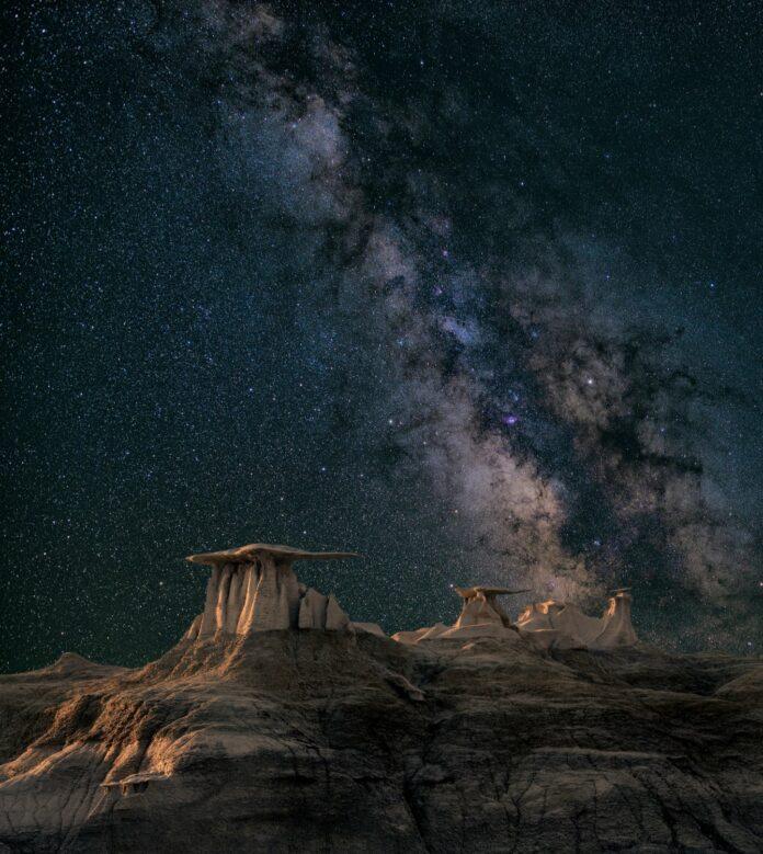 milky way at night in the desert